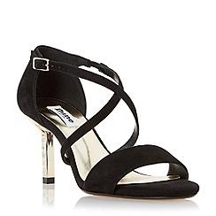 Dune - Black 'Mindee' diamante mid heel cross strap sandal