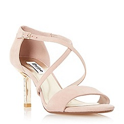 Dune - Light pink 'Mindee' diamante mid heel cross strap sandal