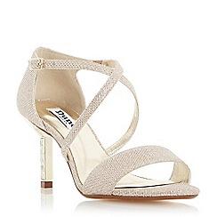 Dune - Gold 'Mindee' diamante mid heel cross strap sandal