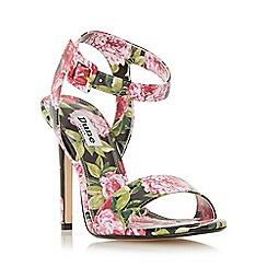 Dune - Black 'Meadoww' peony print high heel sandal