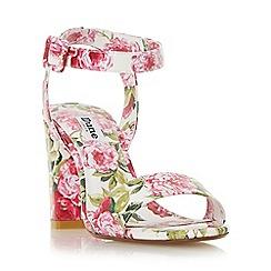 Dune - White 'Marygold' peony print high heel sandal