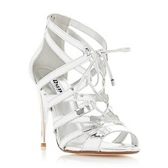 Dune - Silver 'Mila' ghillie lace high heel sandal