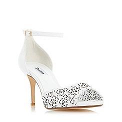 Dune - White 'Mylene' laser cut peep toe sandal