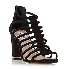 Dune - Black 'Maybells' metal plated block heel sandal