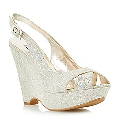 Dune - Champagne-lurex 'Marlborough' di cross strap wedge sandal