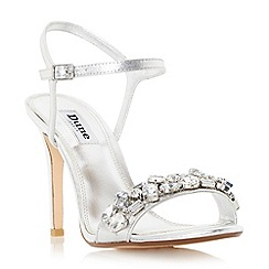 Dune - Silver 'Mya' jewel embellished high heel sandal