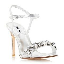 Dune - Silver 'Mya' jewel embellished high heel sandal