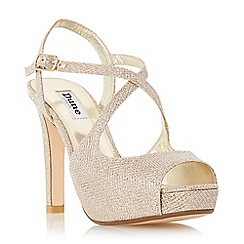 Dune - Gold 'Merry' peep toe cross strap high heel sandal