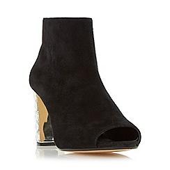 Dune - Black 'Daniela' jewel heel peep toe ankle boot