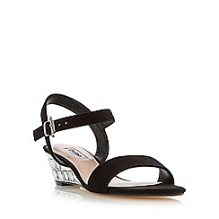 Dune - Black 'Monaa' jewelled wedge sandal