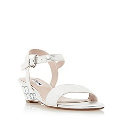 Dune - Silver 'Monaa' jewelled wedge sandal