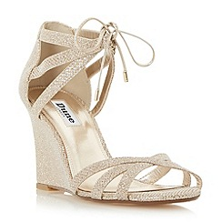 Dune - Gold 'Madge' ghillie lace wedge sandal