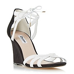 Dune - White 'Madge' ghillie lace wedge sandal