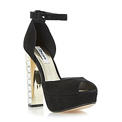 Dune - Black jewelled block heel platform sandal