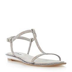 Dune - Grey rhinestone mini wedge sandal