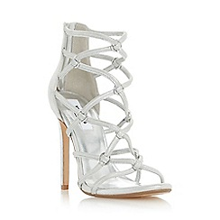 Dune - Silver 'Memphiss' strappy hoop detail high heel sandal