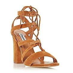 Dune - Tan 'Marlow' ghillie lace block heel sandal