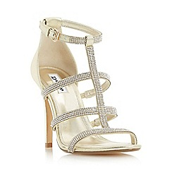 Dune - Gold 'Mahikie' diamante strappy high heel sandal