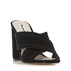 Dune - Black 'Maxi' cross strap mule sandal