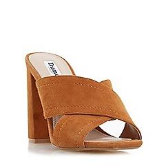 Dune - Tan 'Maxi' cross strap mule sandal