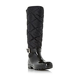 Dune - Black 'Thunder' quilted wellington boot