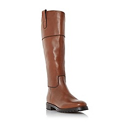 Dune - Tan 'Timi' side tab leather riding boot