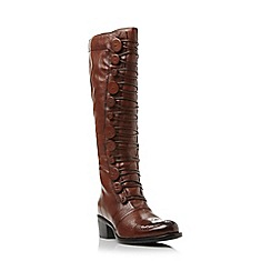 Dune - Tan 'Pixie d' button detail leather knee high boot