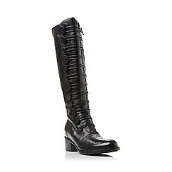 Dune - Black 'Pixie d' button detail leather knee high boot