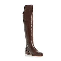 Dune - Tan over the knee back cutout detail leather boot