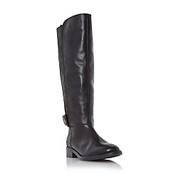 Dune - Black 'Tinsley' leather knee high buckle boot