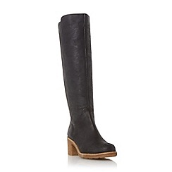 Dune - Black 'Tibbi' block heel crepe sole knee high boot