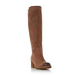 Dune - Tan 'Tibbi' block heel crepe sole knee high boot