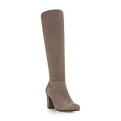 Dune - Dark grey 'Toulon' knee high block heel suede boot