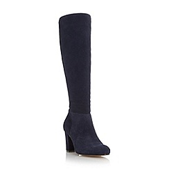 Dune - Navy 'Toulon' knee high block heel suede boot