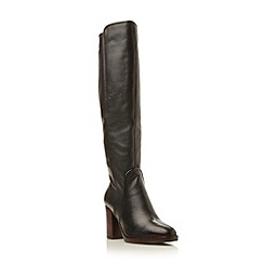 Dune - Black 'Topaz' square toe leather knee high boot