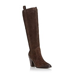 Dune - Dark brown 'Tanzi' suede stacked heel knee high boot
