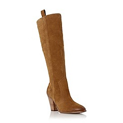 Dune - Dark yellow 'Tanzi' suede stacked heel knee high boot