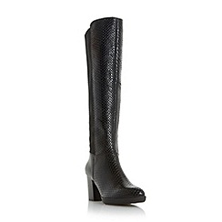 Dune - Black 'Veda' mix material knee high boot