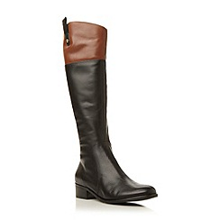 Dune - Black contrasting collar leather riding boot