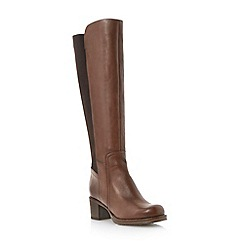 Dune - Brown stretch back panel knee high leather boot