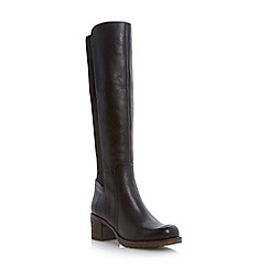 Dune - Black stretch back panel knee high leather boot