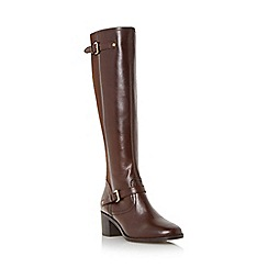 Dune - Brown 'Vivvi' double buckle knee high leather boot