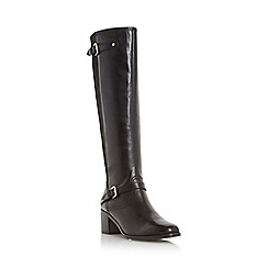 Dune - Black 'Vivvi' double buckle knee high leather boot