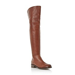 Dune - Tan collar detail over the knee leather boot