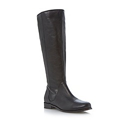 Dune - Black elasticated detail leather riding boot