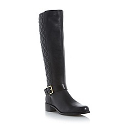Dune - Black-leather 'Torin' quilted leather knee high boot