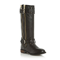 Dune - Black double strap and zip detail knee high biker boot