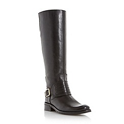 Dune - Black 'Una' buckle and strap detail leather riding boot