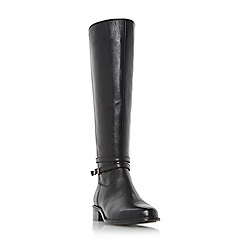 Dune - Black 'Taro' buckle and hardware detail knee high riding boot