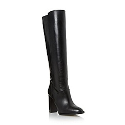 Dune - Black 'Tallie' block heel leather knee high boot